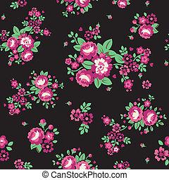 Large Pink on Black Roses Wallpaper