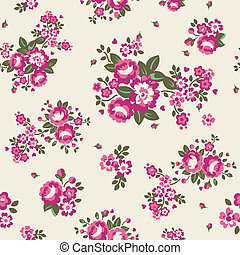 Large Pink on Cream Roses Wallpaper