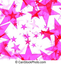 Large pink stars on a light background in the projection.