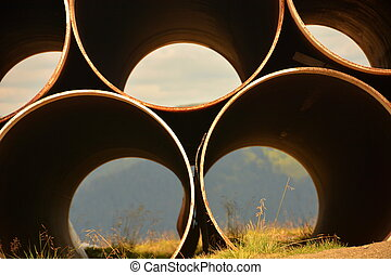 large pipe on top
