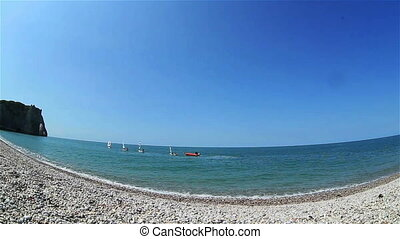 large, plage, angle, vue mer