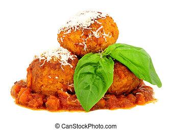 Large Pork Meatballs With Tomato Sauce - Large pork ...