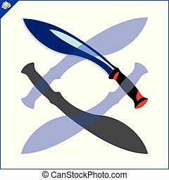 Large, powerful knife with a wide blade. Machete, kukri, cleaver. Dangerous combat edged weapons. Blade Weapons. Swords and daggers, machetes and other cold steel.