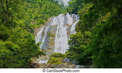 Large Powerful Waterfall among Tropical Jungle
