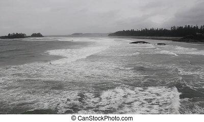 large, prise vue., orageux, ocean.