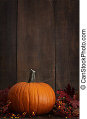 Large pumpkin with leaves against a wood background
