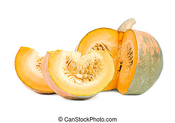 Large pumpkin with slices.