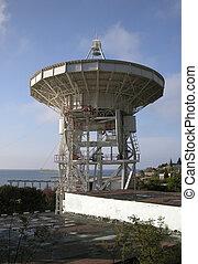 Large radio-telescope in Katsively, Crimea, on blue sky...