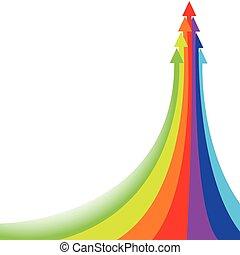 Large rainbow arrow of a few small