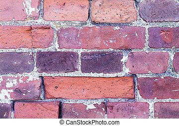 large rectangular brick wall old historical part of the castle masonry orange red stone with cracked