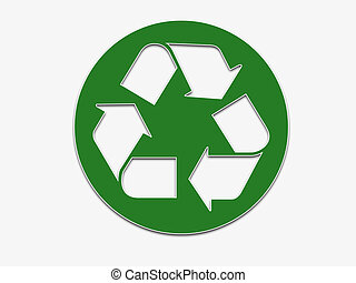 A large green recycling symbol with shadow