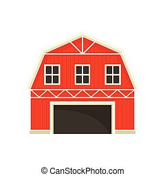Large red barn with a white frame. Vector illustration on white background.