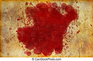 Illustration of a blood stain splattered on old, yellowed, aged grunge parchment.
