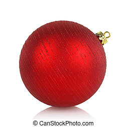 Large red Christmas ball isolated on white background