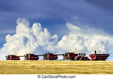 Large Red Combines Agriculture Equipment