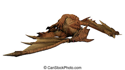 Large Red Dragon Lying Dead