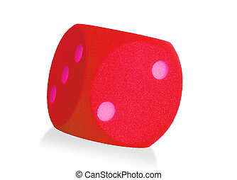 Large red foam dice isolated - 2