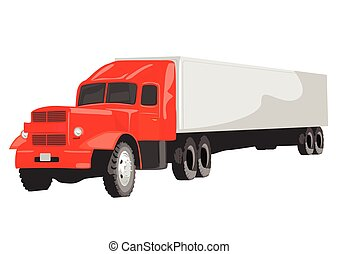 Large red goods vehicle on white background