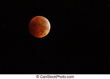 Large Red Moon in Dark Sky