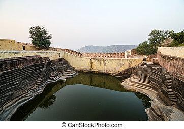 Large reservoir at Nahargarh Fort in Jaipur, Rajasthan, ...