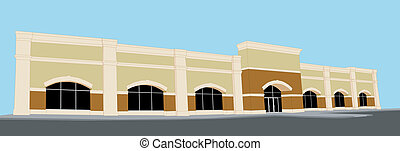 illustration of a large retail stroe with arched windows and entrance