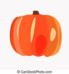 Large ripe orange pumpkin on a white background
