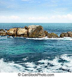 large rock in the ocean