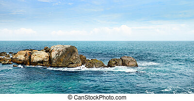 large rock in the ocean