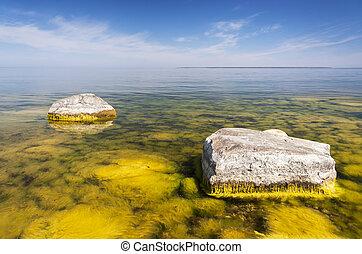 Large rocks in sea