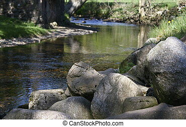 large rocks next to the river
