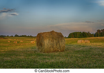 Large round hay bale on a farm field at sunset