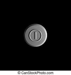 Large round on/off button. Close up. Isolated on black background