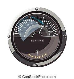 Large round speedometer icon, cartoon style