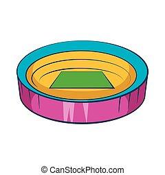 Large round stadium icon, cartoon style