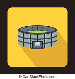 Large round stadium icon, flat style