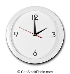 Large round white wall clock with white frame. The hands point to 2 o'clock. Close up. Isolated on white background