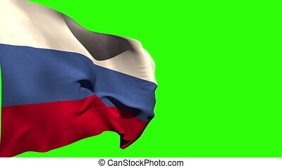 Large russia national flag blowing