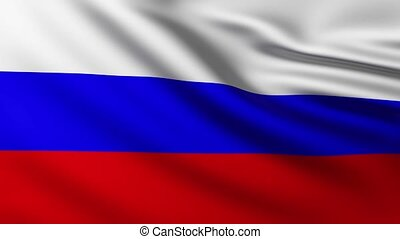 Large Russian flag background in the wind