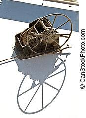 Large rusty boat winch