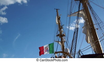large sailing boat at the Wharf in port of Italy - large...