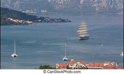 Large sailing ship - A large white sailing ship, Bay of...