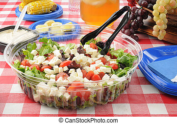 Large salad on a picnic table