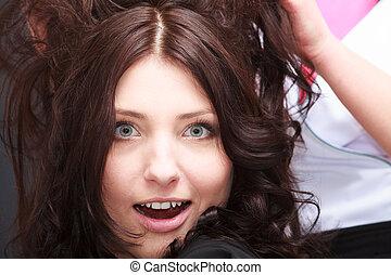 large, salon, femme, cheveux, brunette, bouche, observé,...