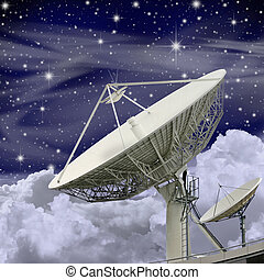 Large Satellite Dish with Clouds and Stars