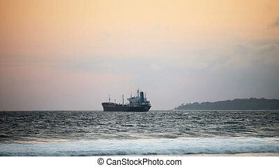 Large sea cargo ship at anchor - 1920x1080 video - Large sea...