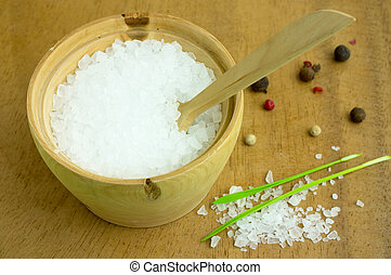 Large sea salt in a wooden bowl