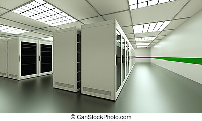 Large server room interior in datacenter, web network and internet telecommunication technology, data storage and cloud service concept, 3d render