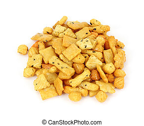 Large serving of rice cracker snack mix