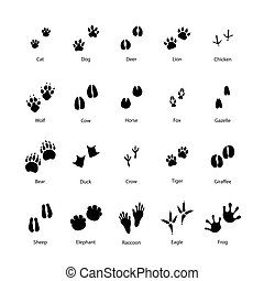 Large set of animal and bird silhouettes of steps imprints...