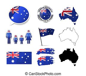Large set of Australia infographics elements with flags, maps and badges on white